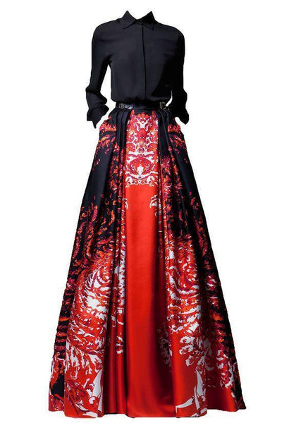 Fashion Printed Long-Sleeved Maxi Dress