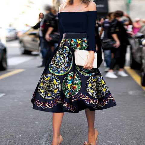 Fashion Vintage Printed Skirt Skater Dress