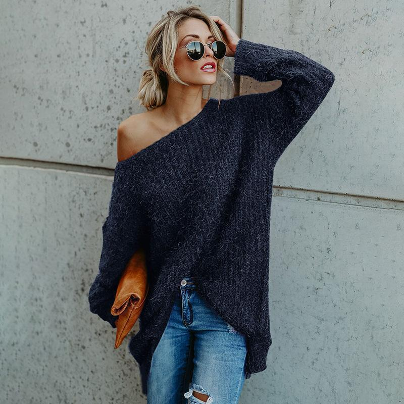 Casual Sloping Shoulder Long Sleeve Sweater