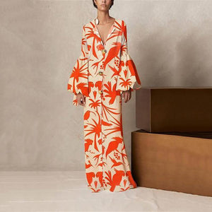 V Collar Long-Sleeved Floral Printing Loose Casual Maxi Dress