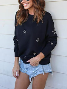 Crew Neck  Cutout Patchwork  Contrast Stitching  Star Long Sleeve T-Shirts