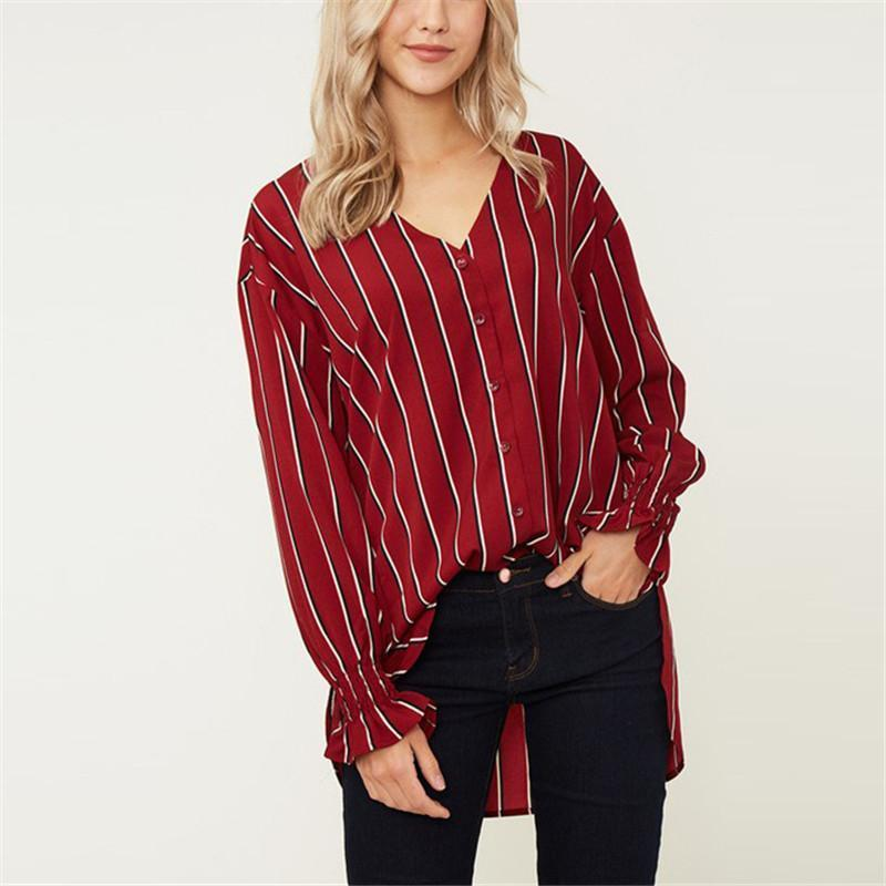 Snow Spinning Shirt Striped V Collar Long-Sleeved Loose Shirt