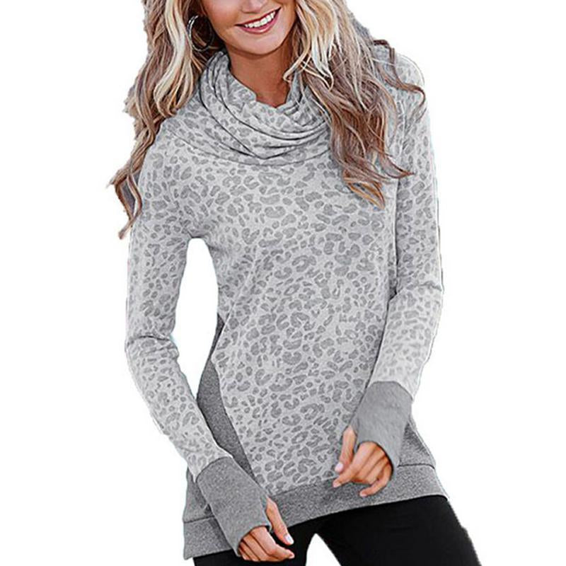 Leopard Print Printing High Collar Long Sleeves T- Shirt
