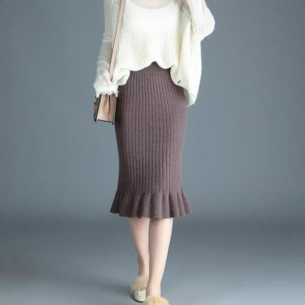 Autumn And Winter Pure Color Knitting Warm Wrap Hip Half Skirt