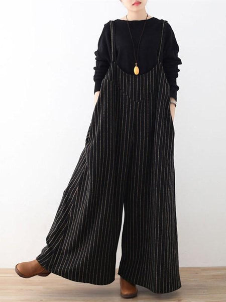 Striped Large Size Loose Wide Leg Bib