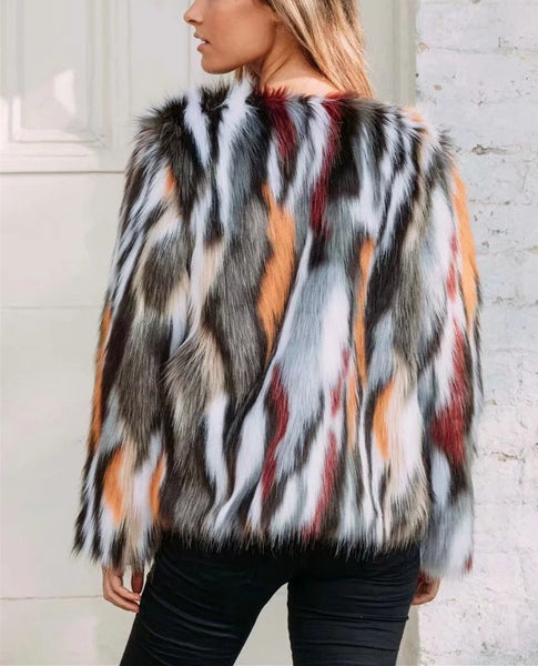 Fashion Clash Splicing Artificial Fur