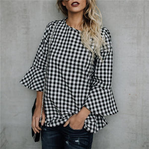 Autumn And Winter Fashion Plaid Round Collar Horn Sleeve Loose Shirt