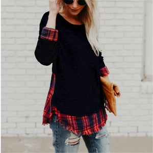 Round Collar Pattern Splice Long Sleeve T-Shirt