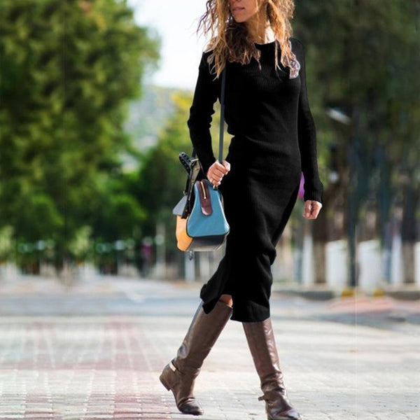 Fashion Knit Long Solid Color Slim Dress