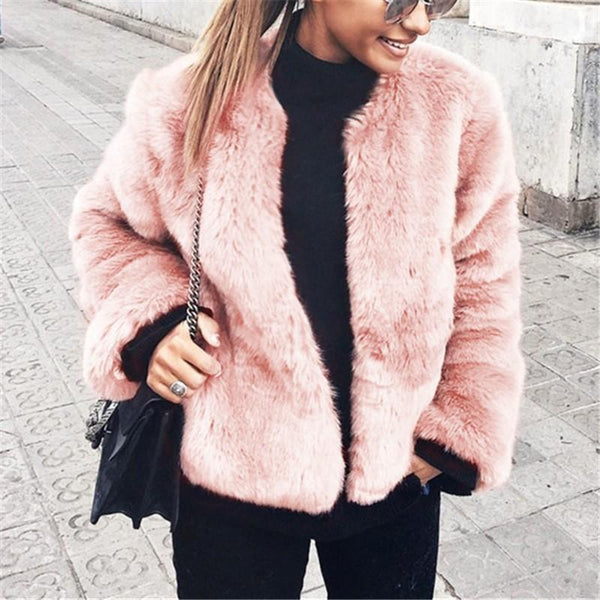 Pure Color Fashionable Imitation Rabbit Fur Loose Coat