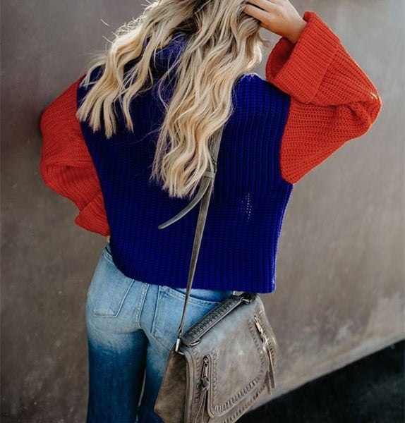 Fashion Casual Color Matching High Neck Knit Sweater