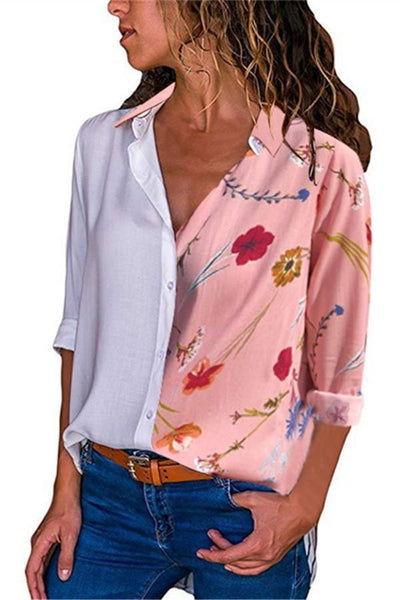 Fashion Casual Long Sleeved Lapel Digital Printed Button Shirt