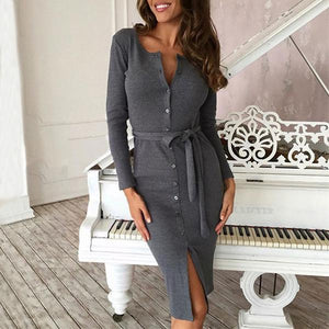 Sexy Button Long sleeve Knit Sweater Maxi Dress