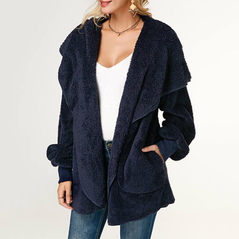 Casual Wool Warm Cotton Hooded Jacket Plush Coat