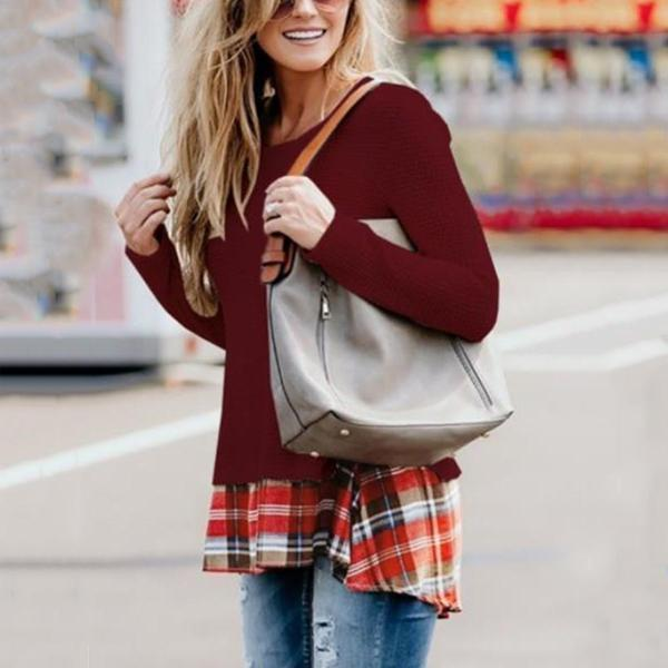 Casual Round Neck Long Sleeves Knit Sweatshirt