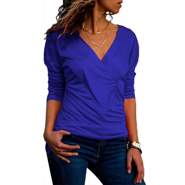 Casual Pure Color V-Neck Long Sleeved Pleated Slim T-Shirt