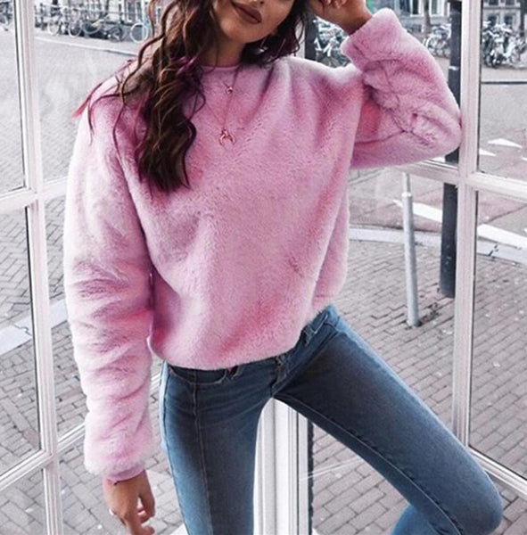 Casual Long Sleeved   Round Neck Plush Sweater Fleece