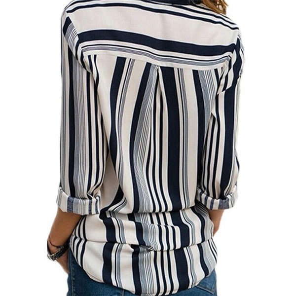 Casual Slim Colorful   Striped V Neck Long Sleeved Chiffon Shirt