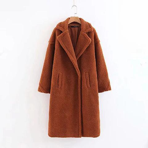 Fashion Lapel Collar Plain Thicken Lamb Wool Long Coat