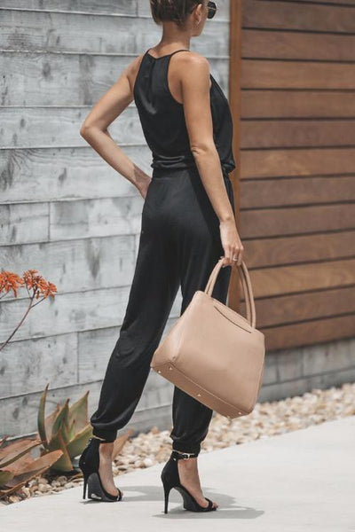 Casual Pure Color   Suspenders V-Neck Jumpsuits