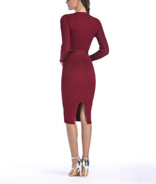 Sexy Casual Button   Slim Knit Bodycon Dress