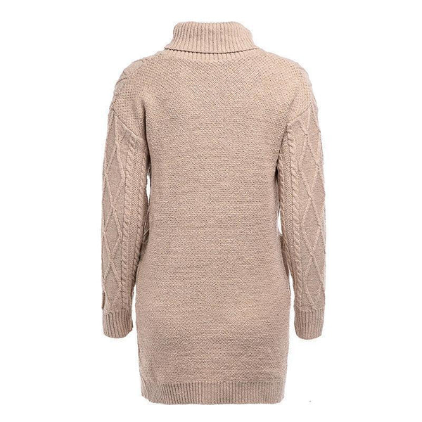 Pure Color Warm   Vintage High Neck Long Knit Sweater