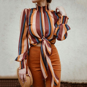 Casual Long Sleeved Stand Up Collar Striped Blouse