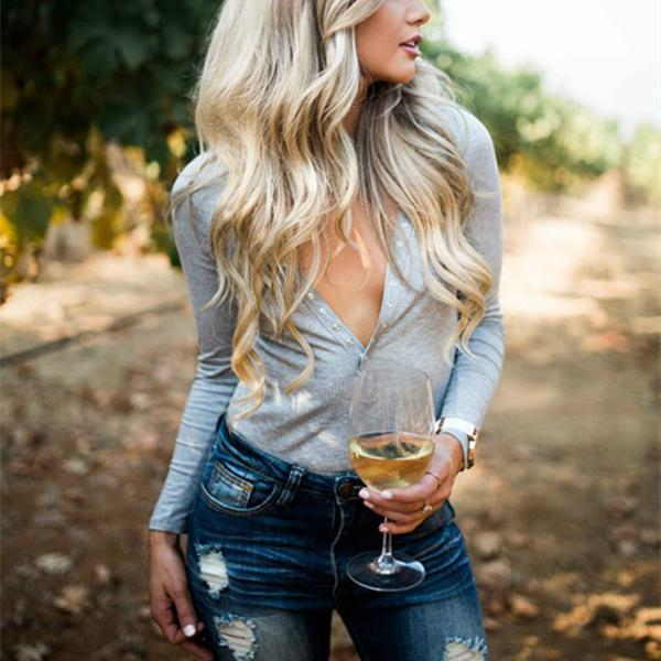 Casual V-Neck Knit  Blouse