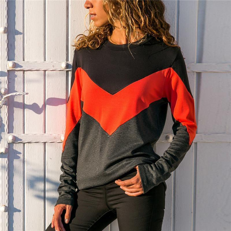 Fashion Contrast Color Round Neck Long Sleeve T-Shirt