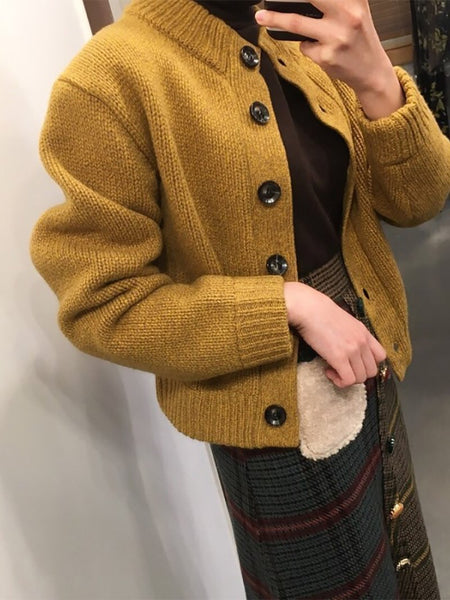 Vintage Pure Colour Short Button Knitted Coat