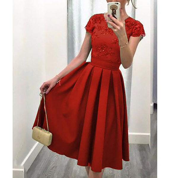 Fashion Bare Back Splicing Pure Colour Skater Dresses