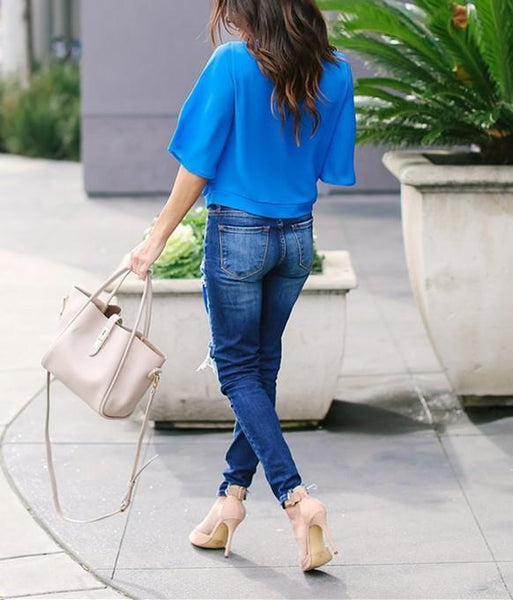 Fashion Sexy Frenulum Chiffon Blouse