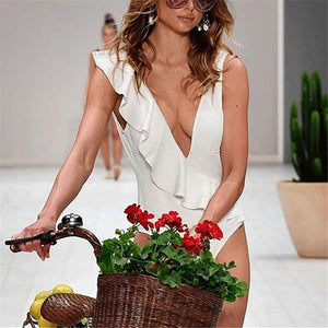 Fashion Sandbeach Sexy Deep V Neck Piece Swimsuit Bikini