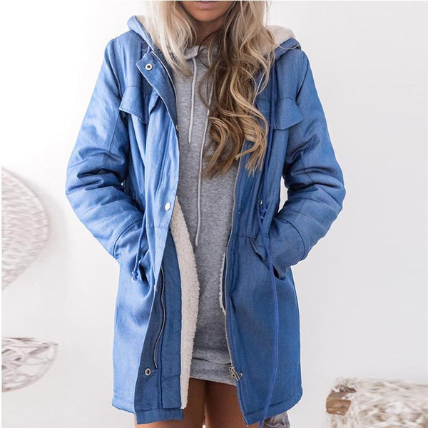Fashion Long Sleeved Zippered Hooded Windbreaker Coat