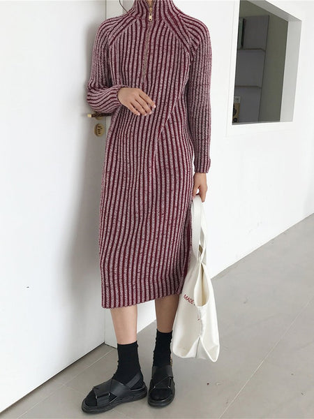 Casual Loose Half High Collar Mixed Color Knitted Dresses