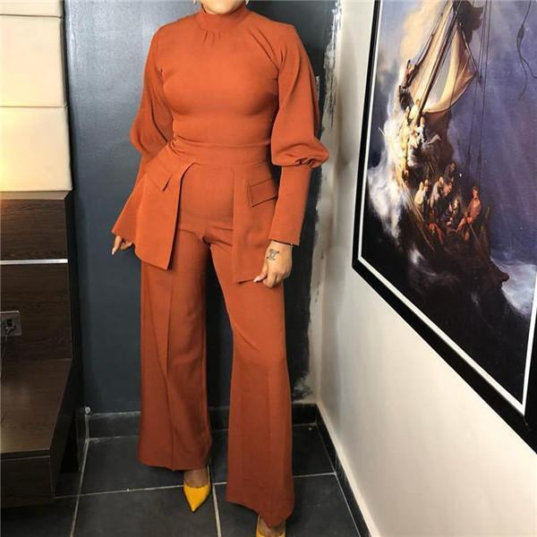 Fashion Long Sleeve And Wide Leg Jumpsuit