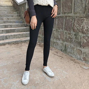 Fashion Slim Show Thin Knit Sweater  Stretch Ninth Pants   Pencil Tight Pants