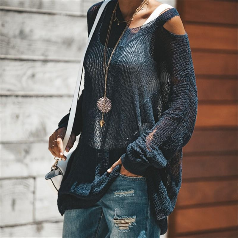 Fashion Off The Shoulder Long Sleeve Knitted Sweater Blouse