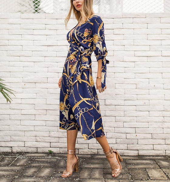 Fashion Sexy V Neck Show Thin Frenulum Floral Print Maxi Dress