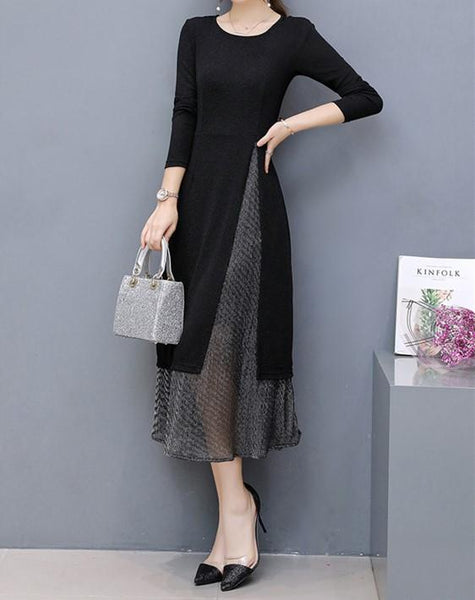 Fashion Loose Show   Thin Grenadine Stitching Maxi Dress Two Piece Suit