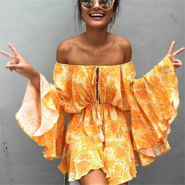 Sexy Word Collar   Off-Shoulder Printed Jumpsuit Dress