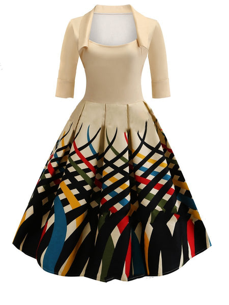 Asymmetric Neck  Printed Skater Dress