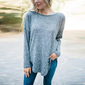 Round Neck Long Sleeve Plain Asymmetrical Hem T-Shirts