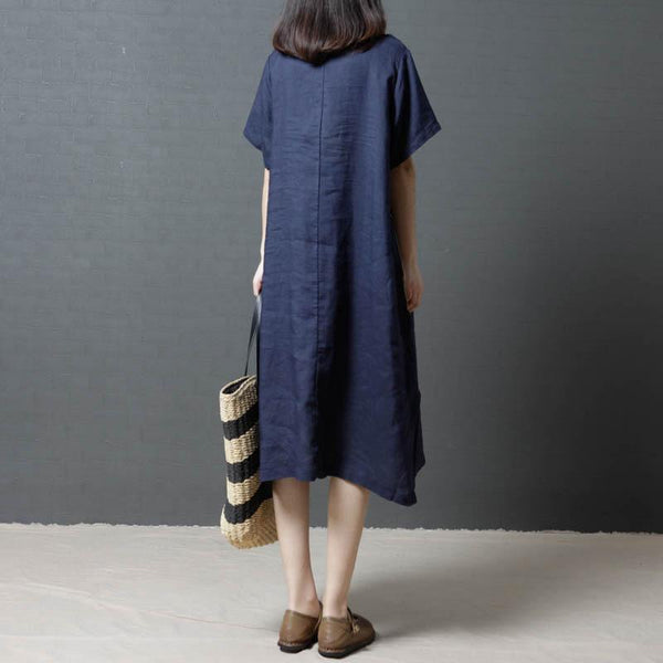 Casual Flax Contrast   Color Loose Maxi Dresses