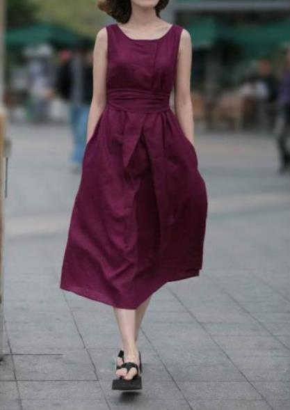 Casual Loose Show Thin   Pure Color Vest Maxi Dresses