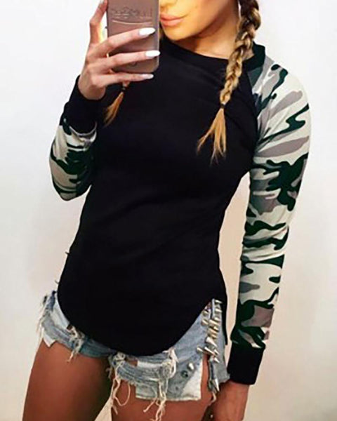 Round Neck  Cutout Patchwork  Camouflage Color Block Plain Long Sleeve T-Shirts
