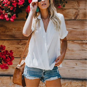 Casual Loose V Neck   Pure Color Chiffon Shirt Blouse