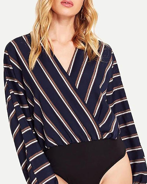 V-Neck  Cutout Patchwork  Striped Shirts