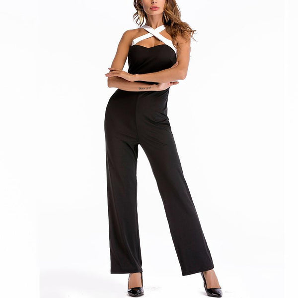 Casual Sexy Show Thin   Pure Color Wide Leg Jumpsuit