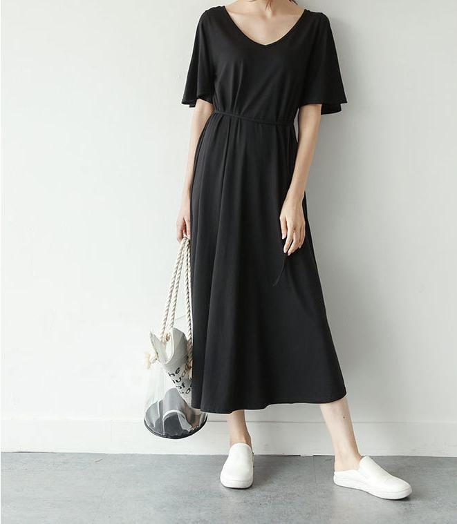 Casual Loose V   Neck Pure Color Maxi Dress